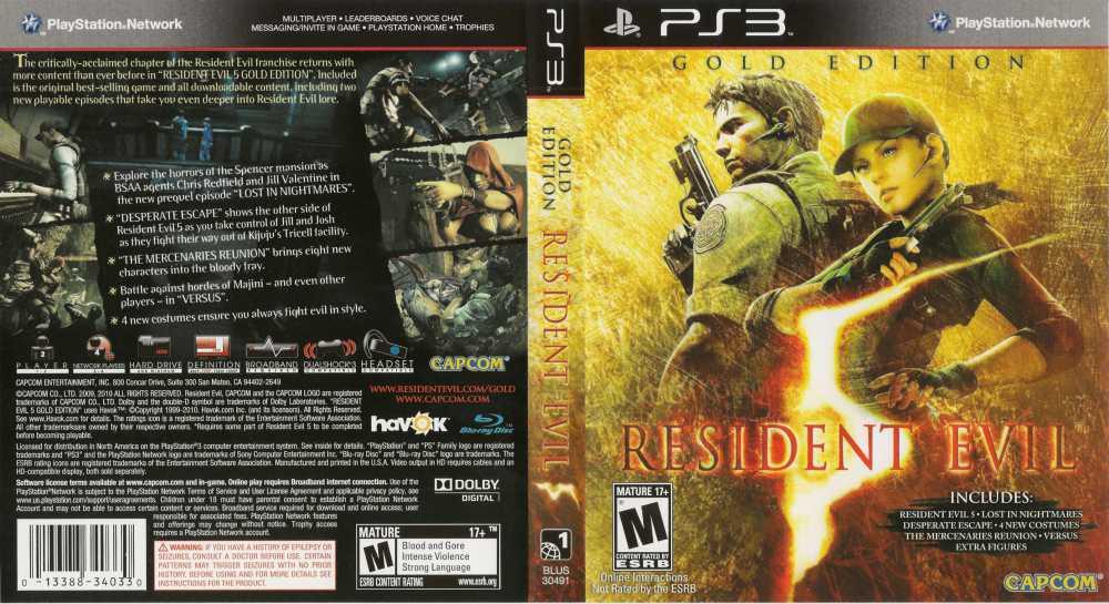 Resident Evil 5 Gold Edition Playstation 3 Videogamex