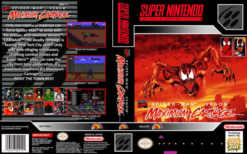 Spider Man Venom Maximum Carnage Super Nintendo Videogamex