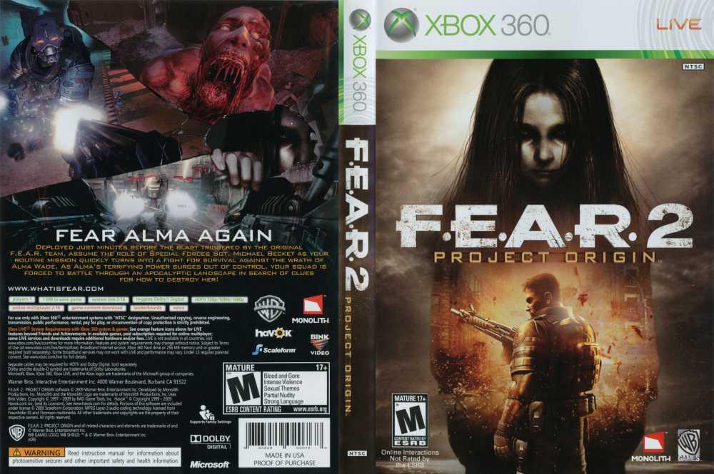 F. E. A. R. 2 project origin xbox 360 box art cover by vjmaster90.