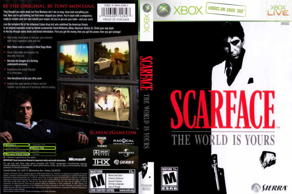 scarface the world is yours bc xbox videogamex rh videogamex com Xbox 360 Users Manual Xbox 360 Arcade Manual
